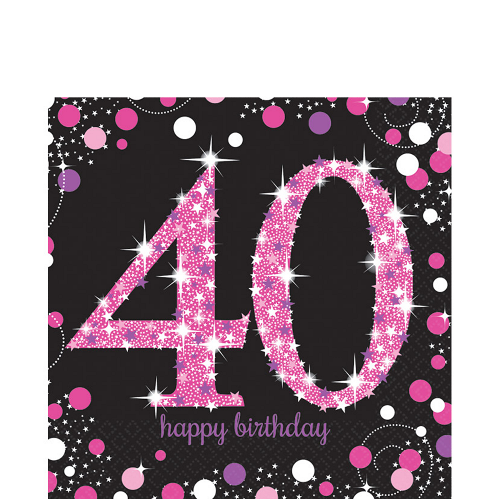40th Birthday Lunch Napkins 16ct - Pink Sparkling Celebration ...