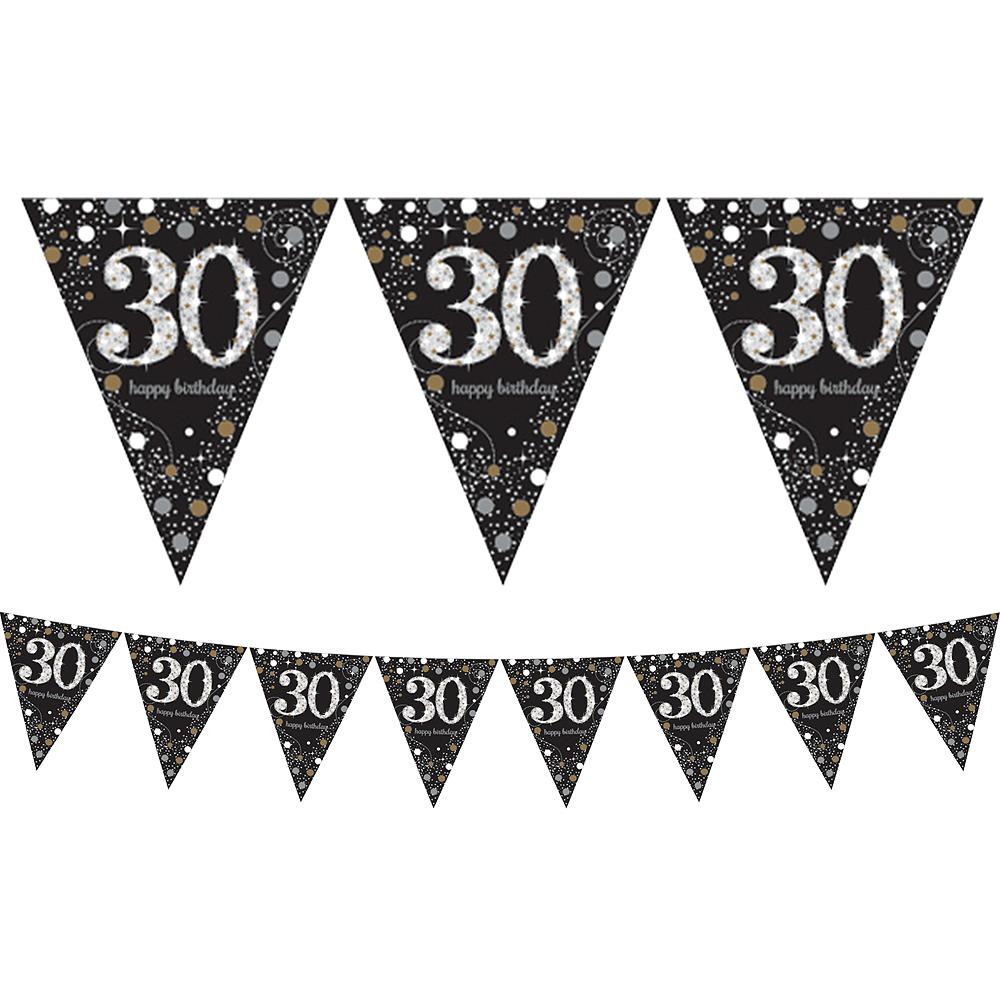prismatic 30th birthday pennant banner 13ft sparkling celebration