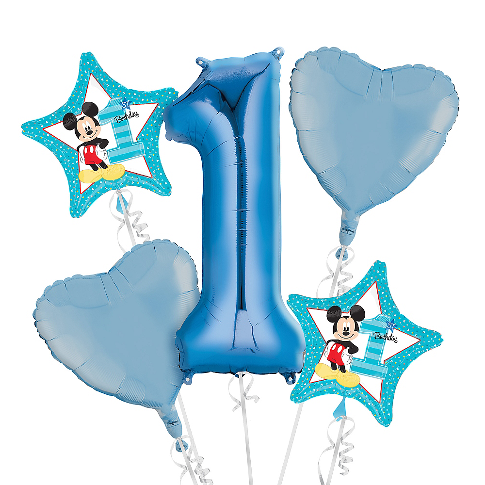Baby Mickey Mouse 1st Birthday Balloon Bouquet 5pc Image 1