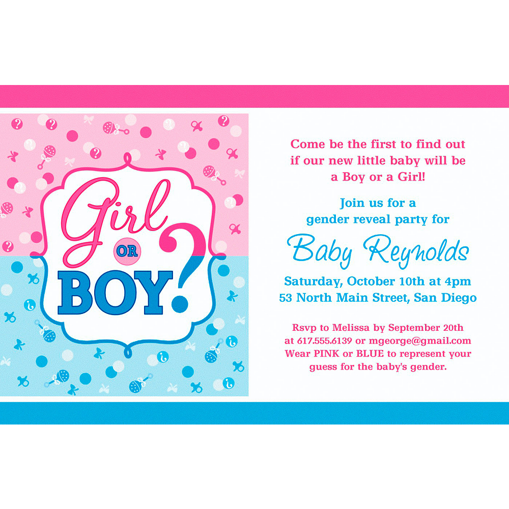 custom girl or boy gender reveal invitation party supplies party