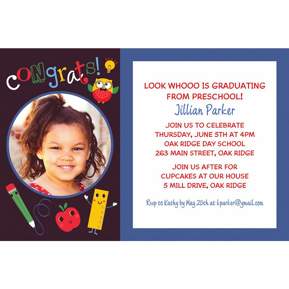 Custom Schoolhouse Chalkboard Graduation Photo Invitation Image #1
