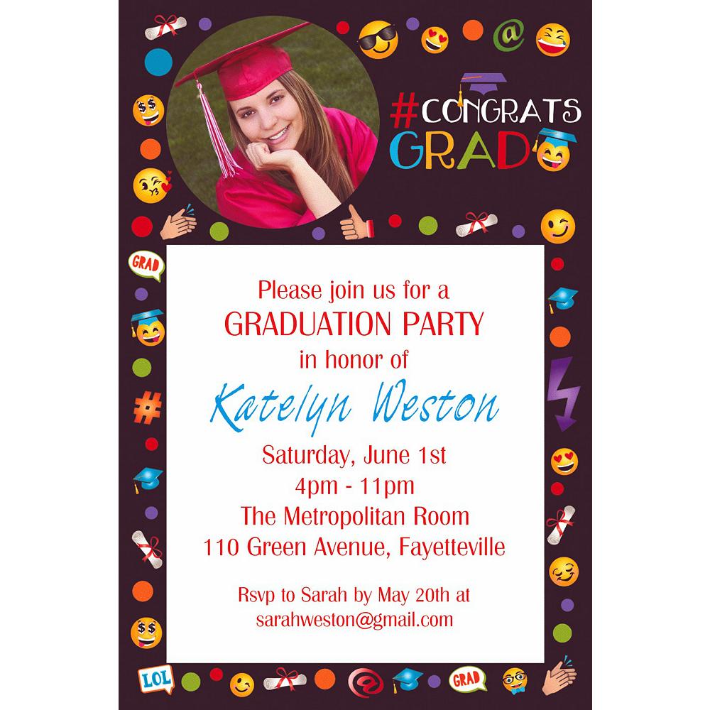 Custom Smiley Graduation Photo Invitation  Image #1