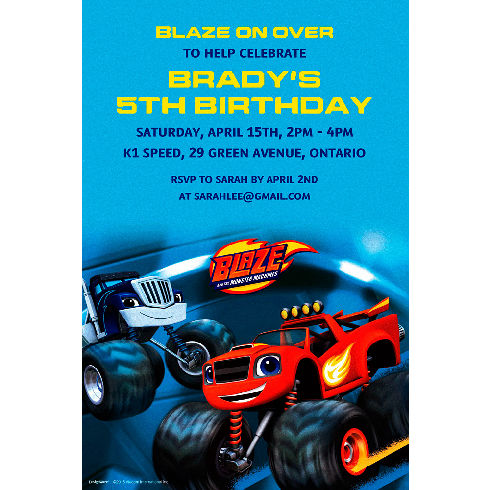 Custom Blaze And The Monster Machines Invitation