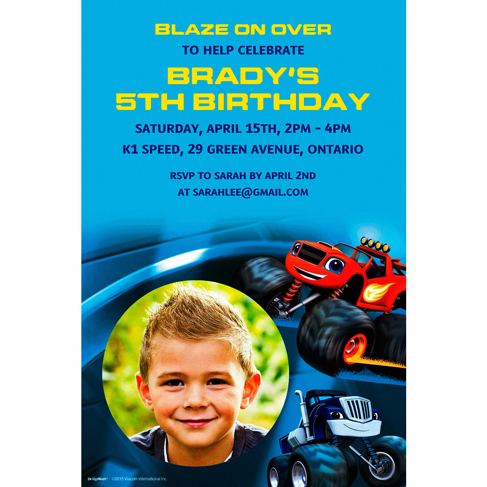 Custom Blaze and the Monster Machines Photo Invitation  Image #1