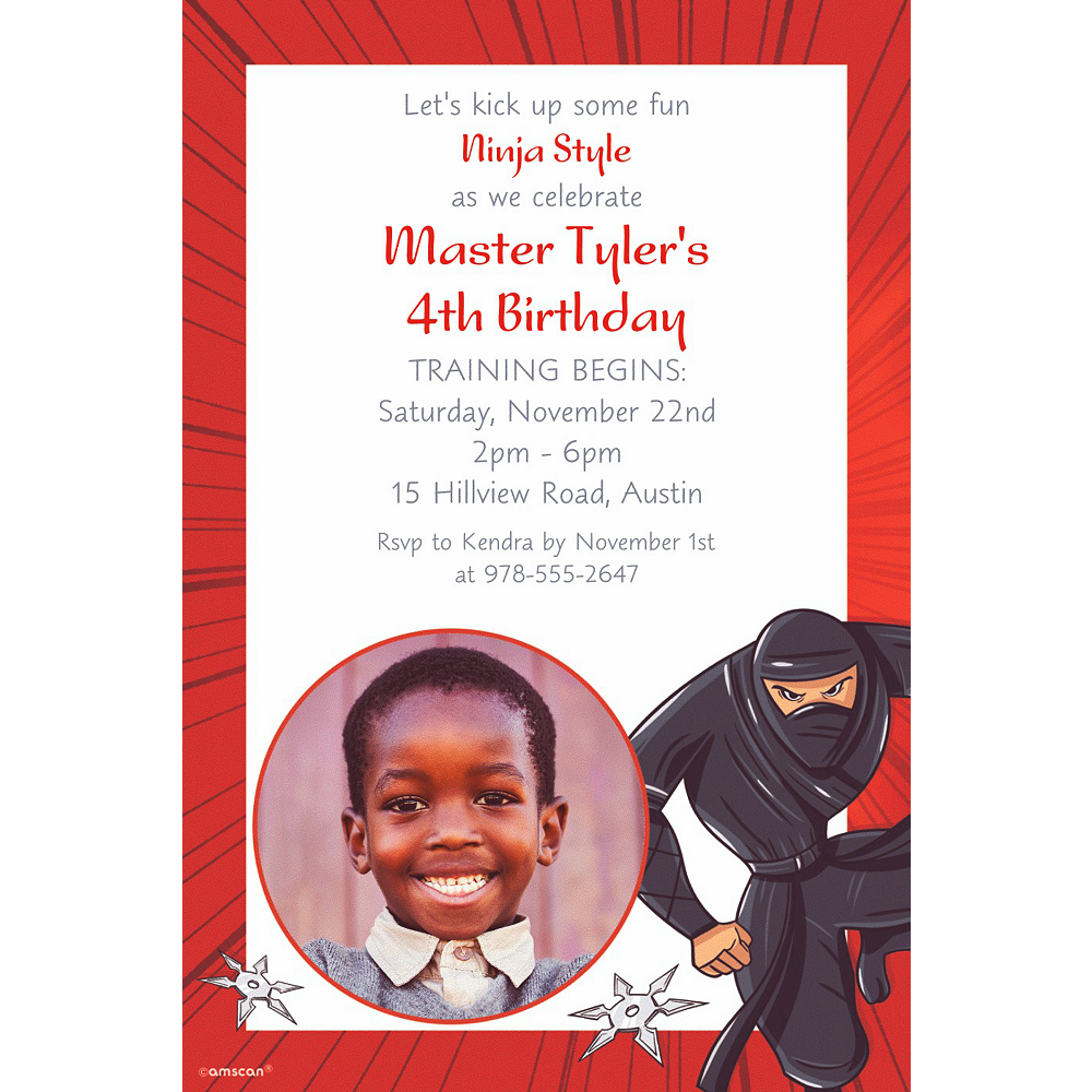 Custom Ninja Photo Invitation Image #1