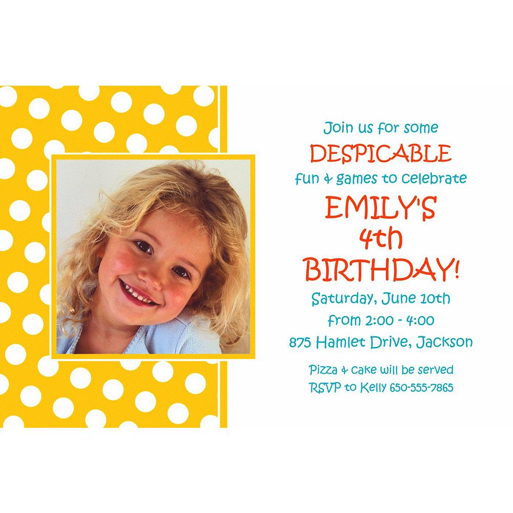 Custom Yellow Birthday Photo Invitation Image #1