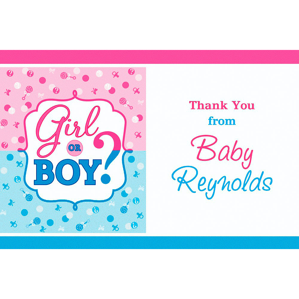 Custom Girl or Boy Gender Reveal Thank You Note Image #1