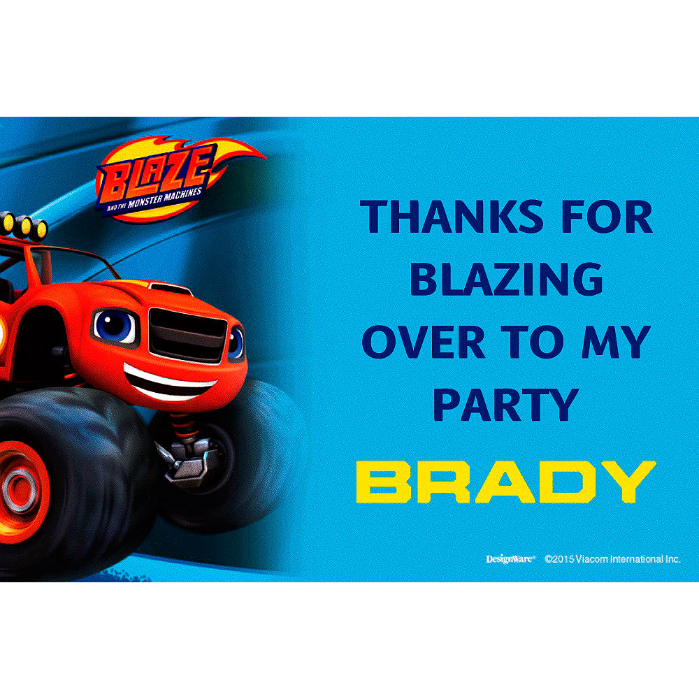 Custom Blaze and the Monster Machines Thank You Note Image #1