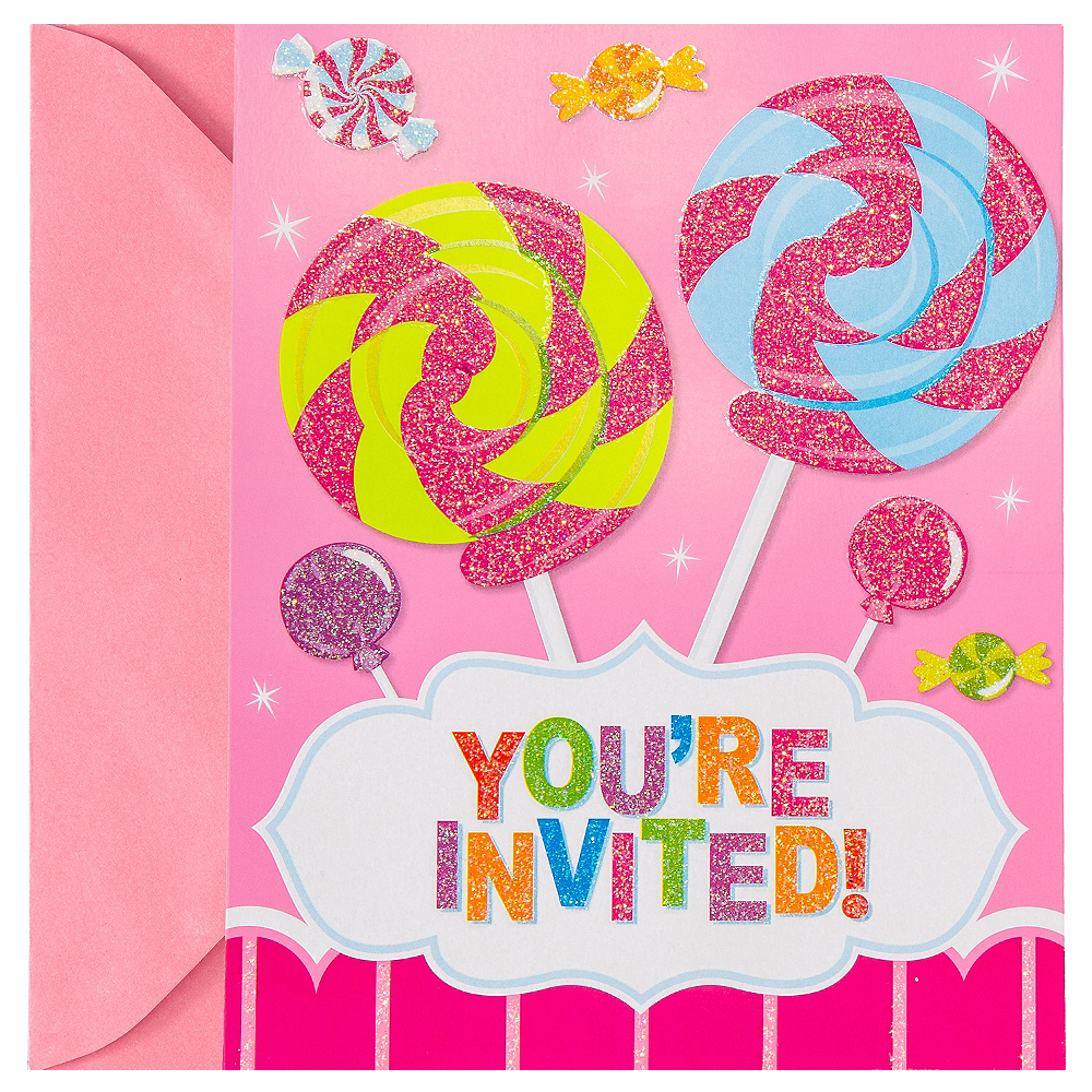 Glitter Candy Shoppe Invitations 8ct Image #1