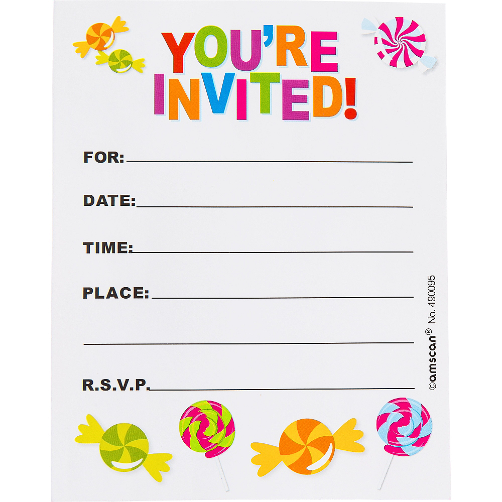 Glitter Candy Shoppe Invitations 8ct Image #2