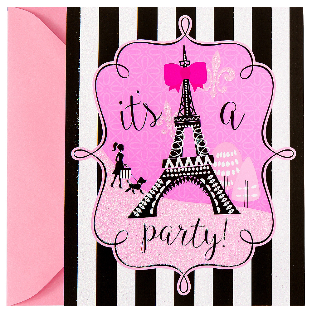 Glitter Paris Invitations 8ct Image #1