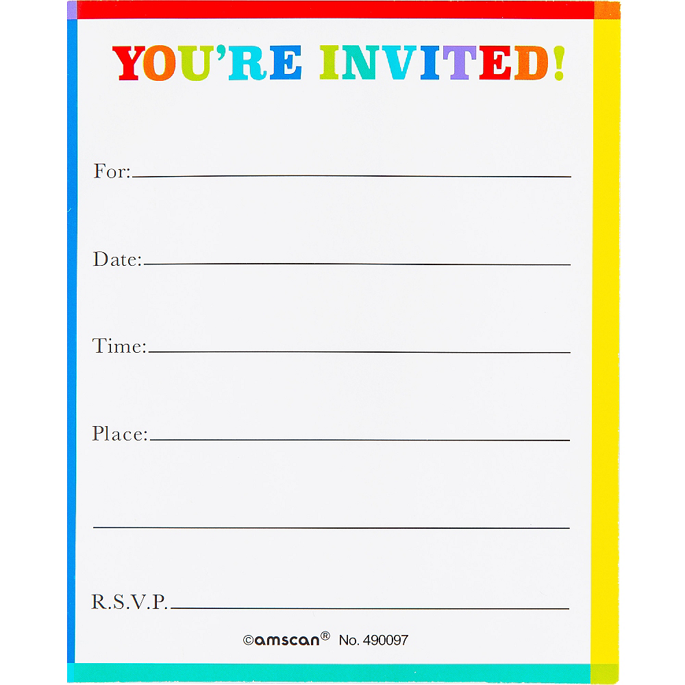 Glitter Rainbow Twist Invitations 8ct Image #2