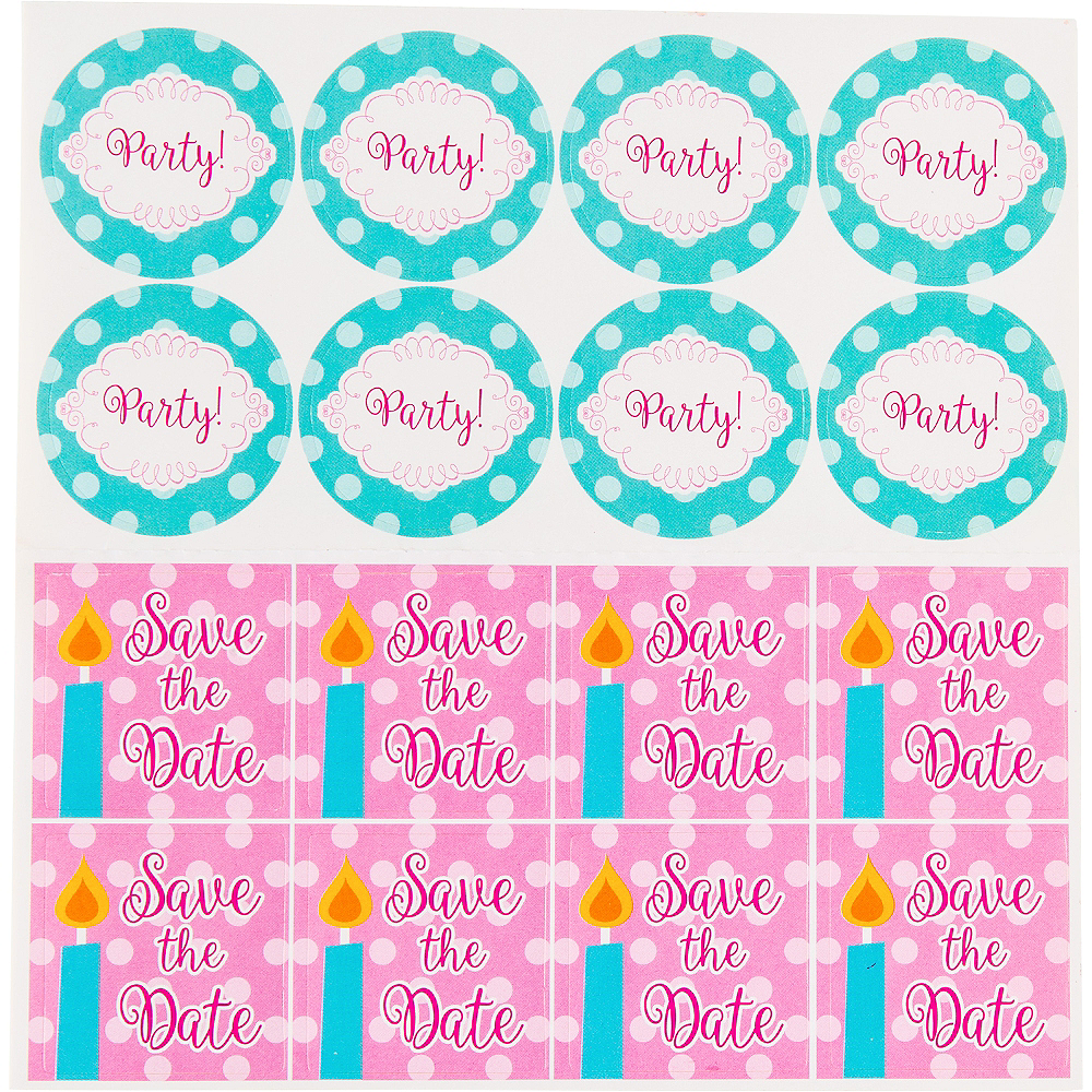 Glitter Pink & Teal Cake Invitations 8ct Image #3