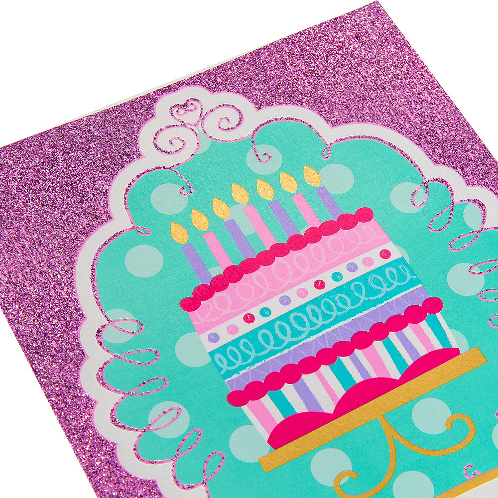Glitter Pink & Teal Cake Invitations 8ct Image #4