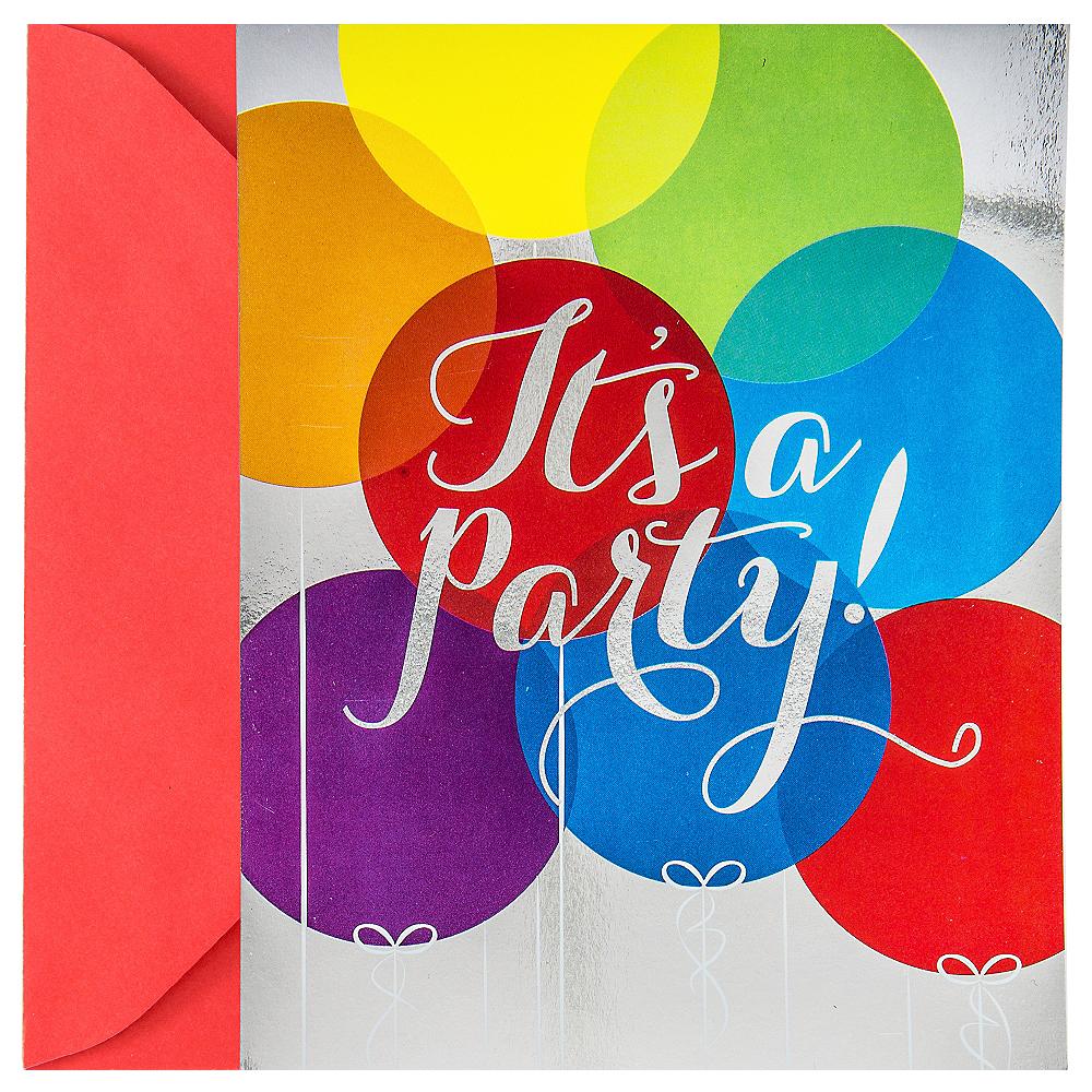 Metallic Rainbow Balloon Invitations 8ct Image #1