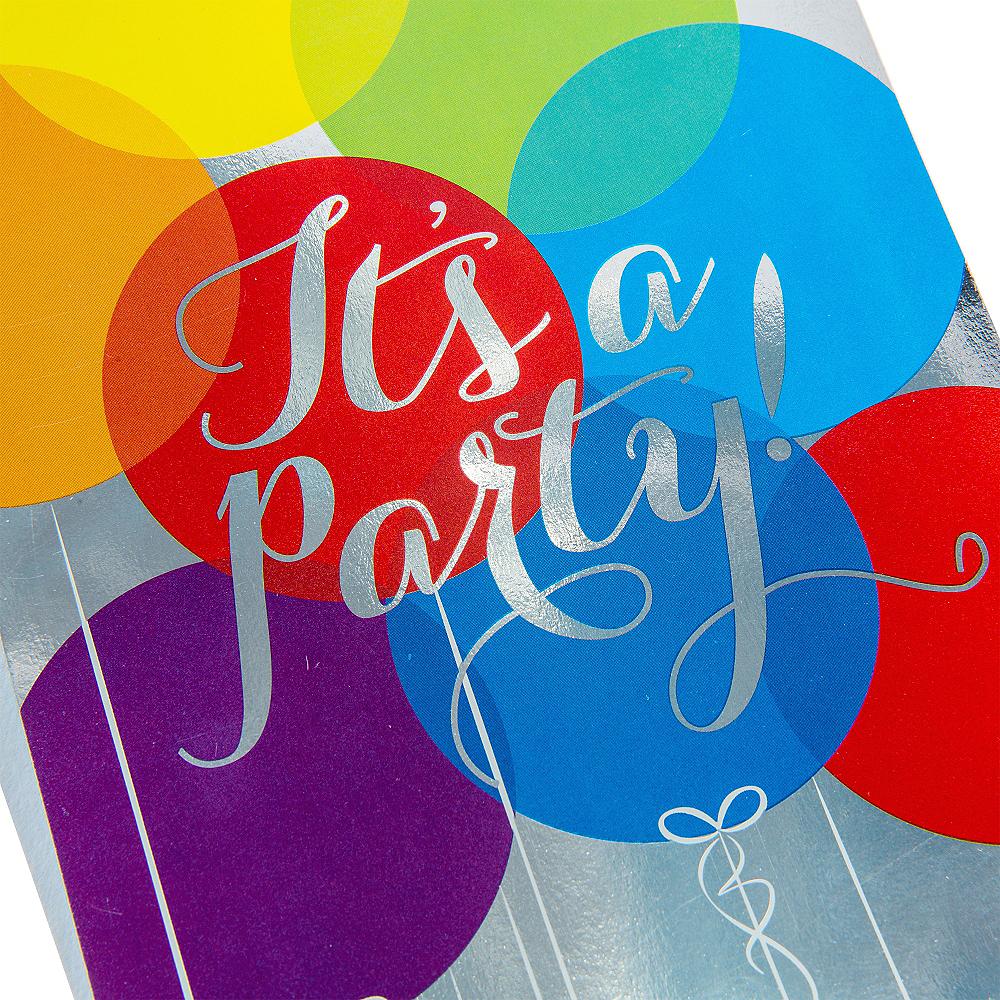 Metallic Rainbow Balloon Invitations 8ct Image #4