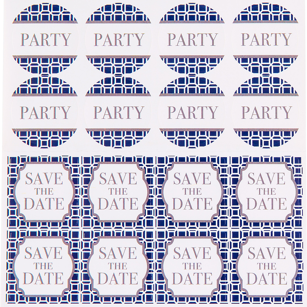 Metallic Blue Geometric Invitations 8ct Image #2