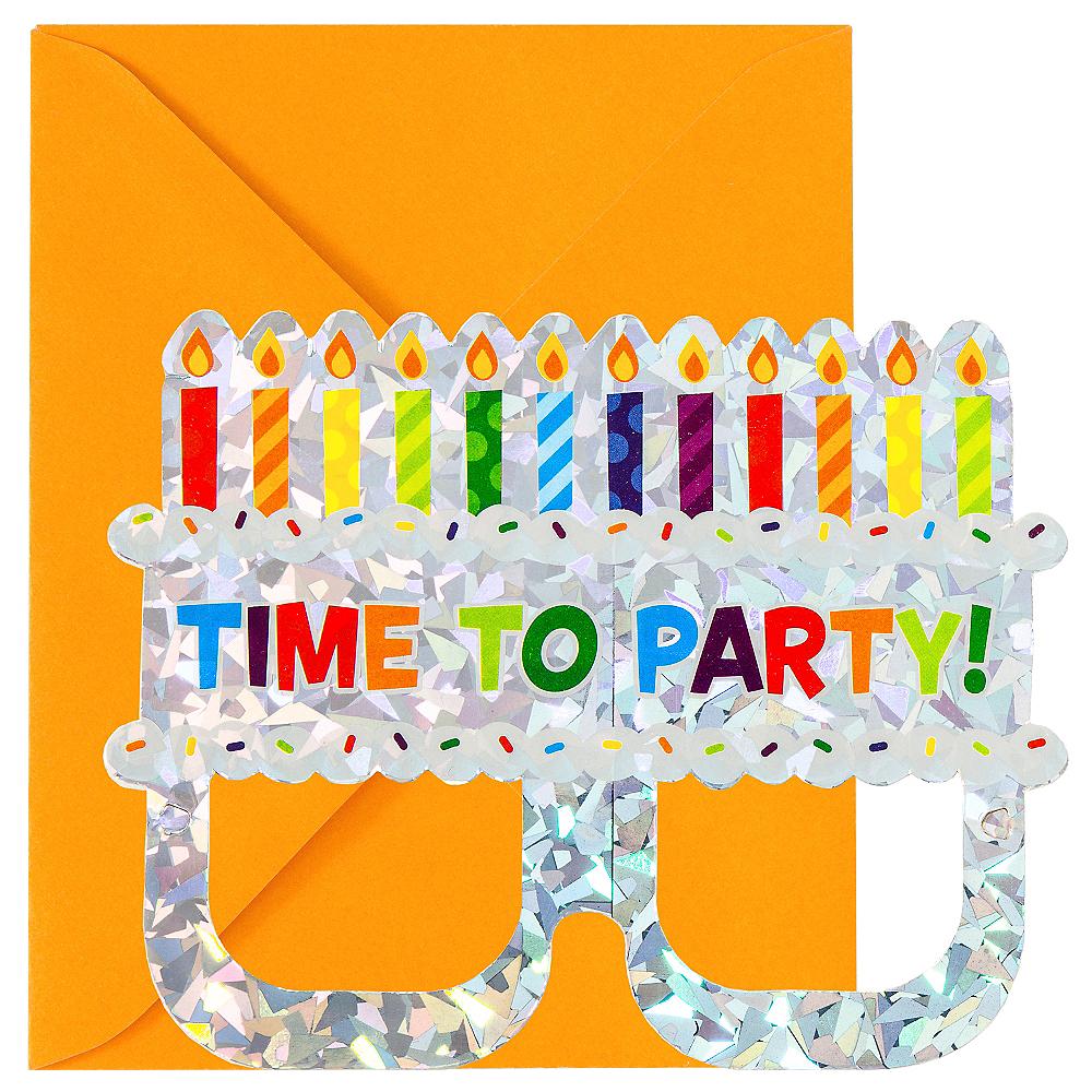 Prismatic Cake Glasses Invitations 8ct Image #1