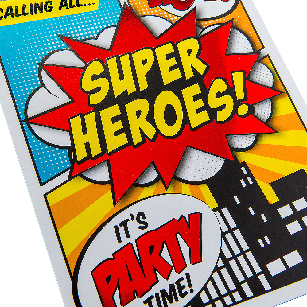 Metallic Comic Book Superhero Invitations 8ct | Party City