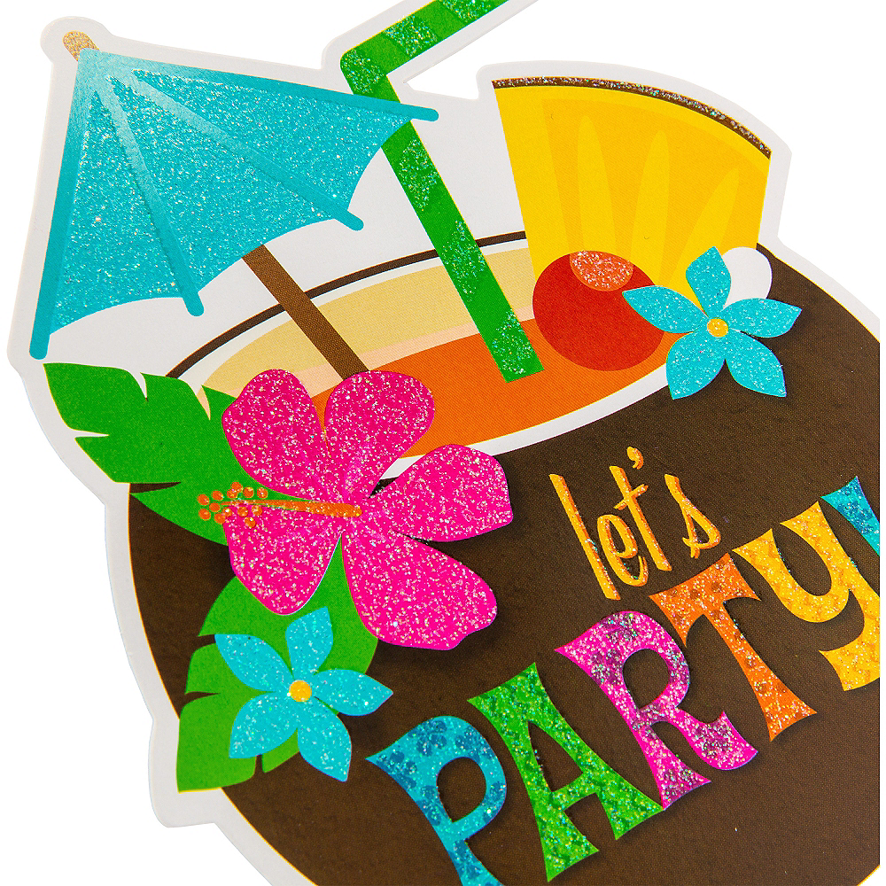 Glitter Coconut Cup Luau Invitations 8ct Image #4
