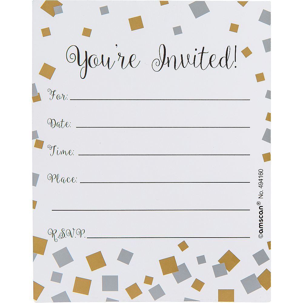 Nav Item for Metallic Black Gold & Silver Squares Invitations 8ct Image #2