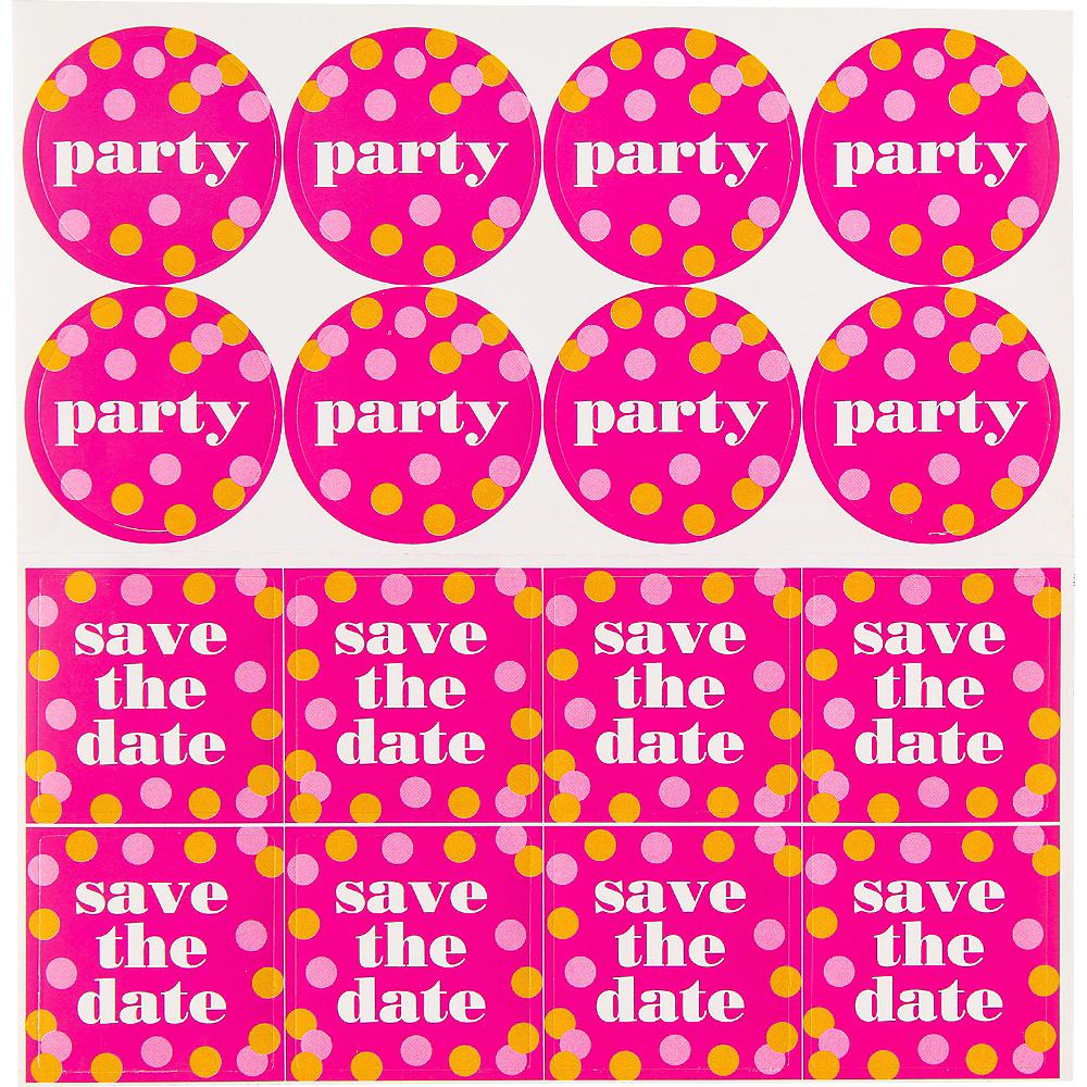 Metallic Dots Pink Invitations 8ct Image #3