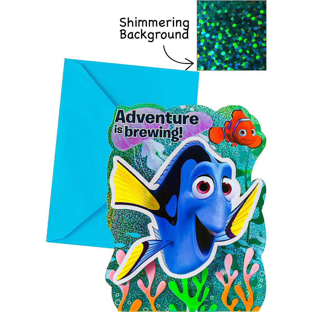 Premium Prismatic Finding Dory Invitations 8ct Image #1
