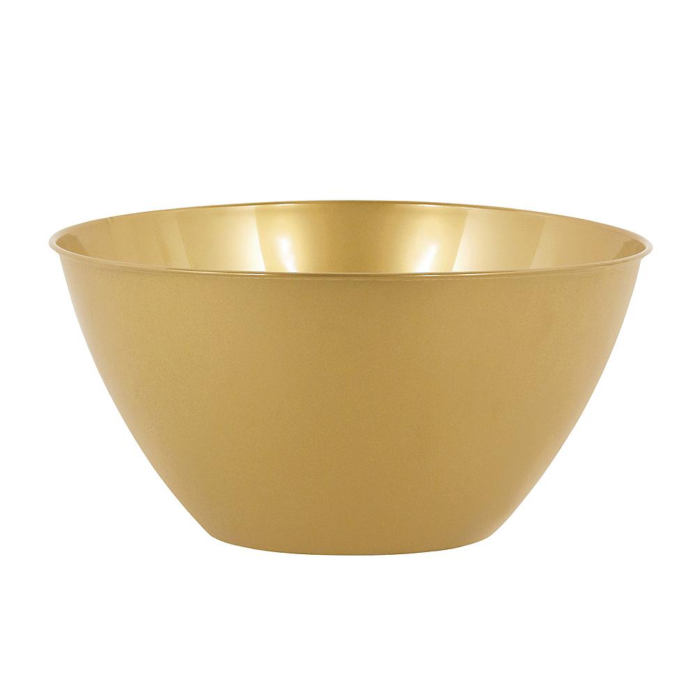 Medium Gold Plastic Bowl Image #1