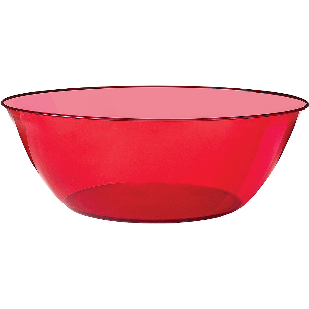 Red Plastic Serving Bowl Image #1