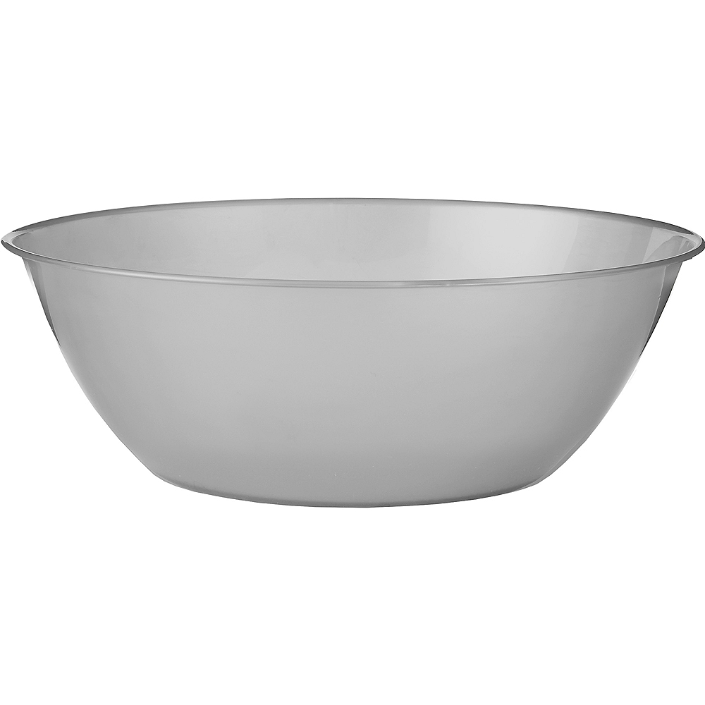 Silver Plastic Serving Bowl Image #1