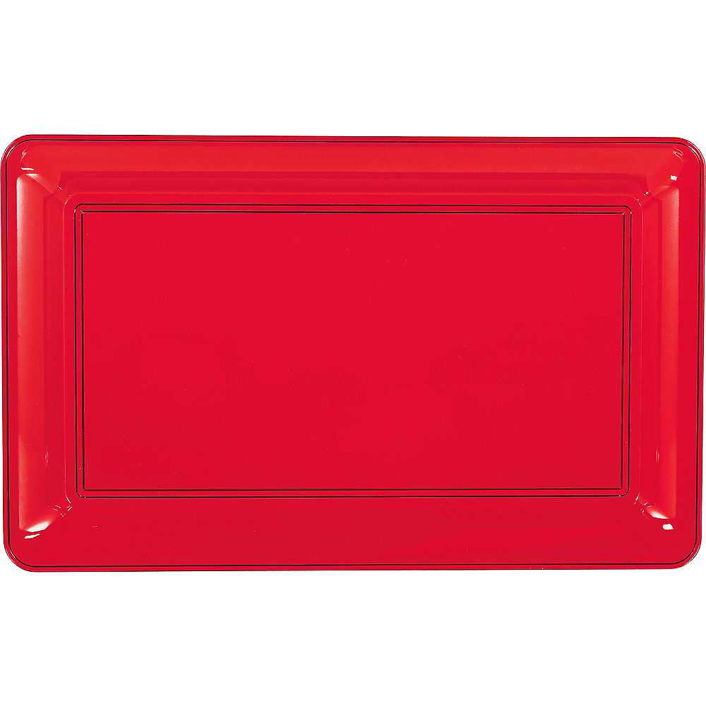 Red Plastic Rectangular Platter Image #1