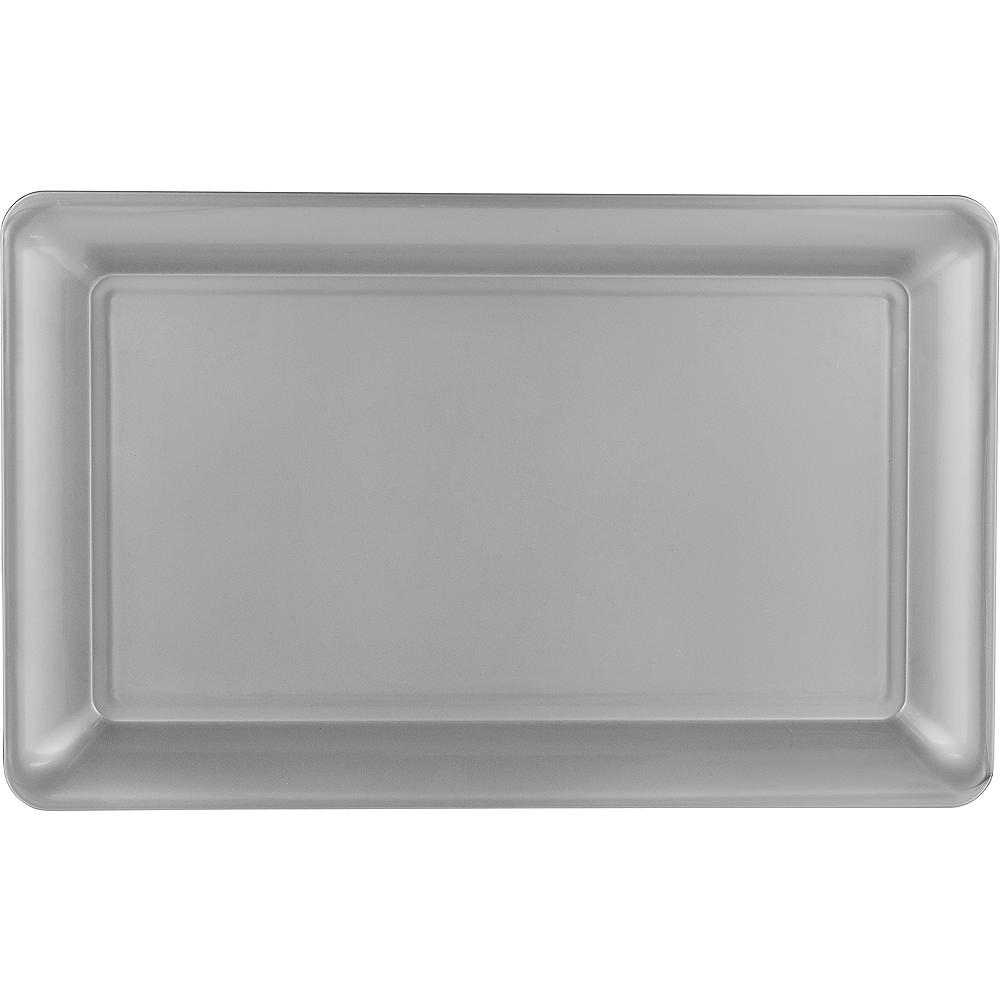 Silver Plastic Rectangular Platter Image #1
