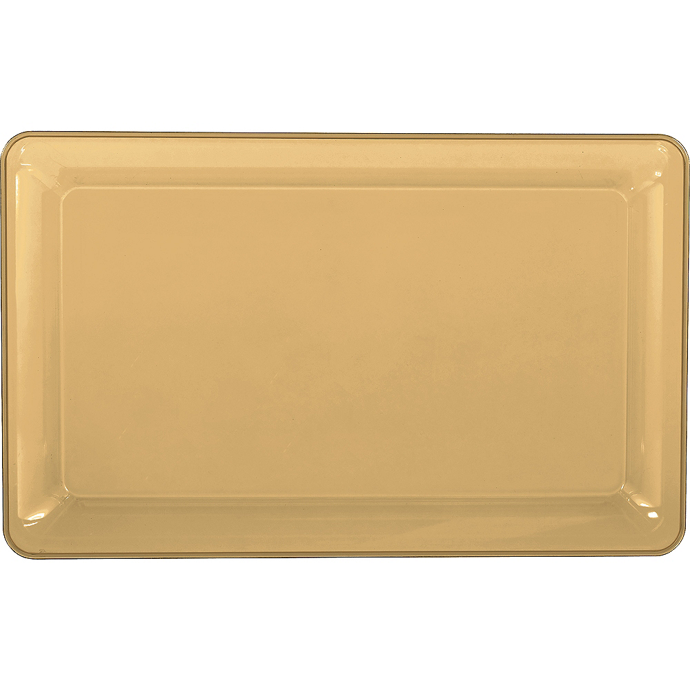 Nav Item for Gold Plastic Rectangular Platter Image #1
