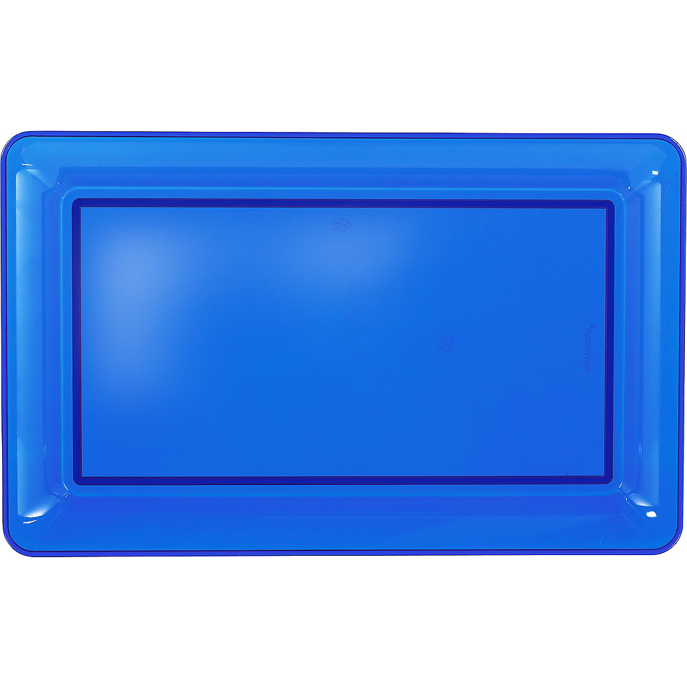 Royal Blue Plastic Rectangular Platter Image #1