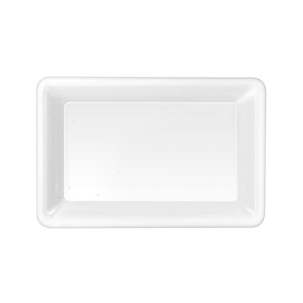 Medium White Plastic Rectangular Platter Image #1