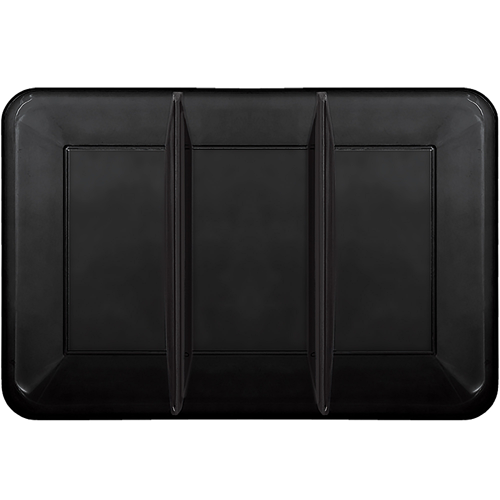 Black Plastic Rectangular Sectional Platter Image #1