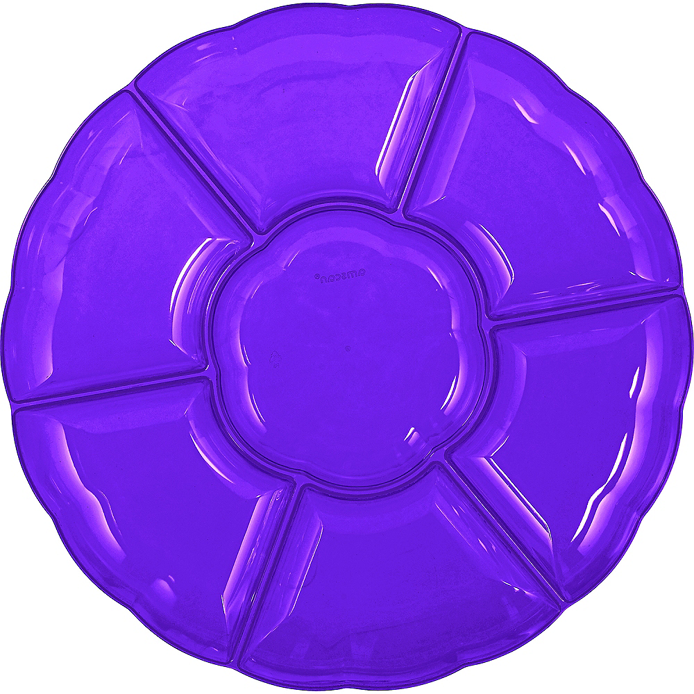 Purple Plastic Scalloped Sectional Platter Image #1