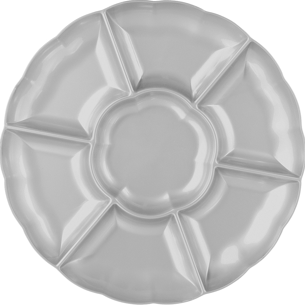 Silver Plastic Scalloped Sectional Platter Image #1