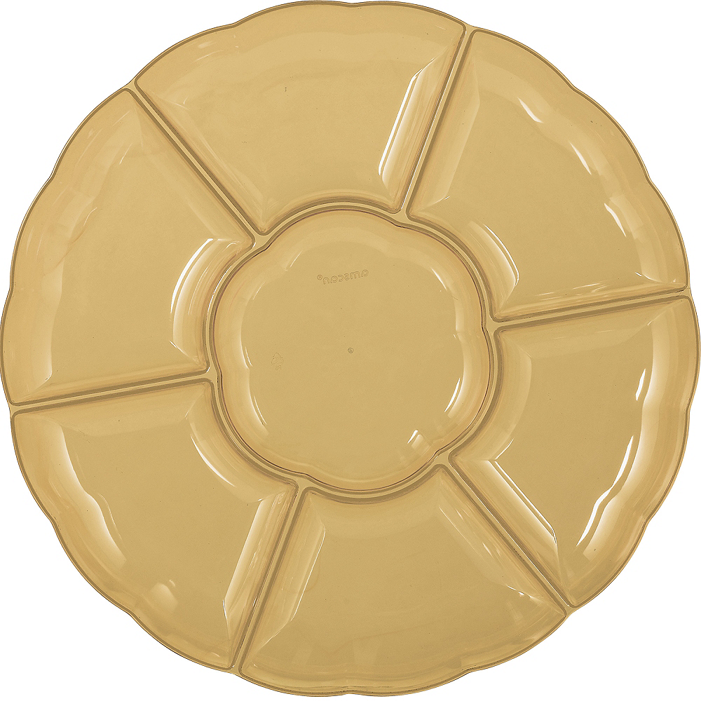 Gold Plastic Scalloped Sectional Platter Image #1