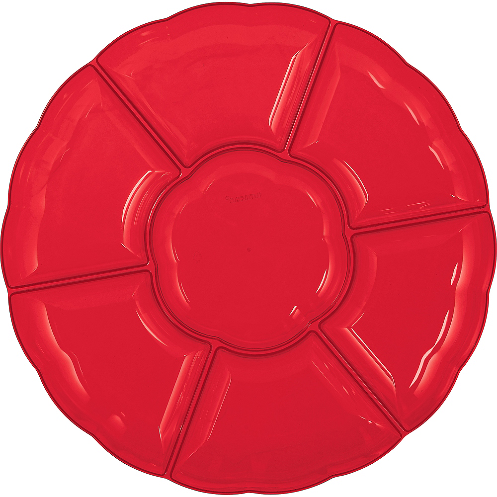Red Plastic Scalloped Sectional Platter Image #1
