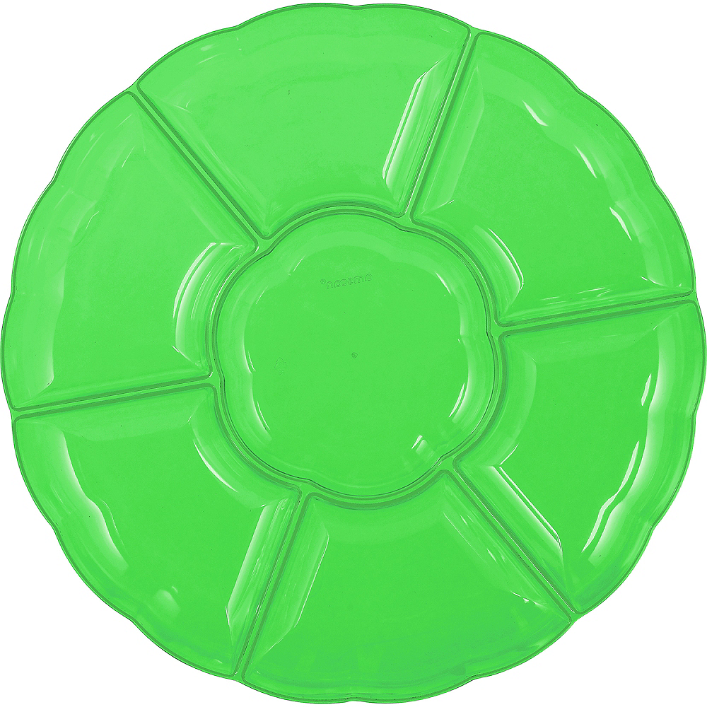 Kiwi Green Plastic Scalloped Sectional Platter Image #1