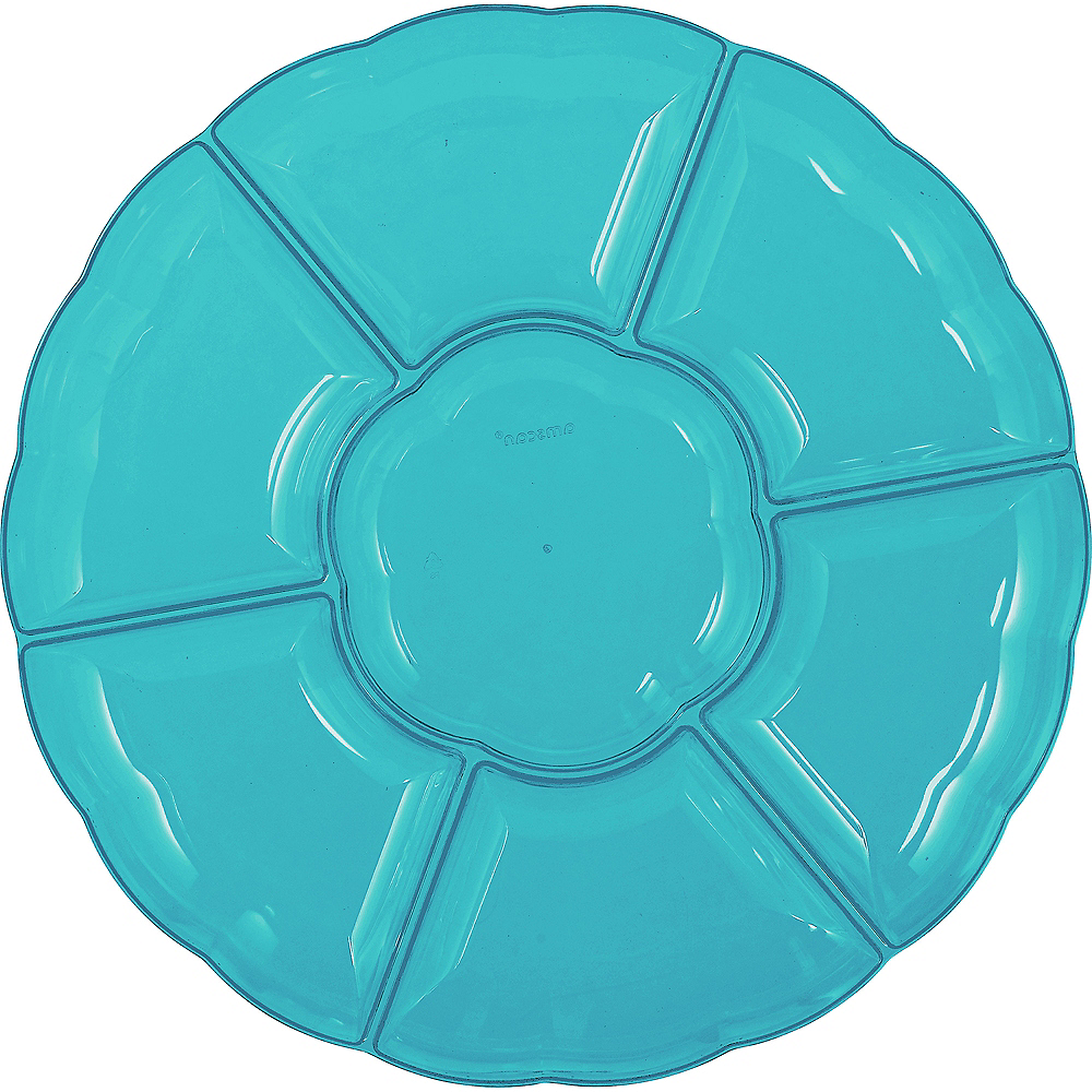 Caribbean Blue Plastic Scalloped Sectional Platter Image #1