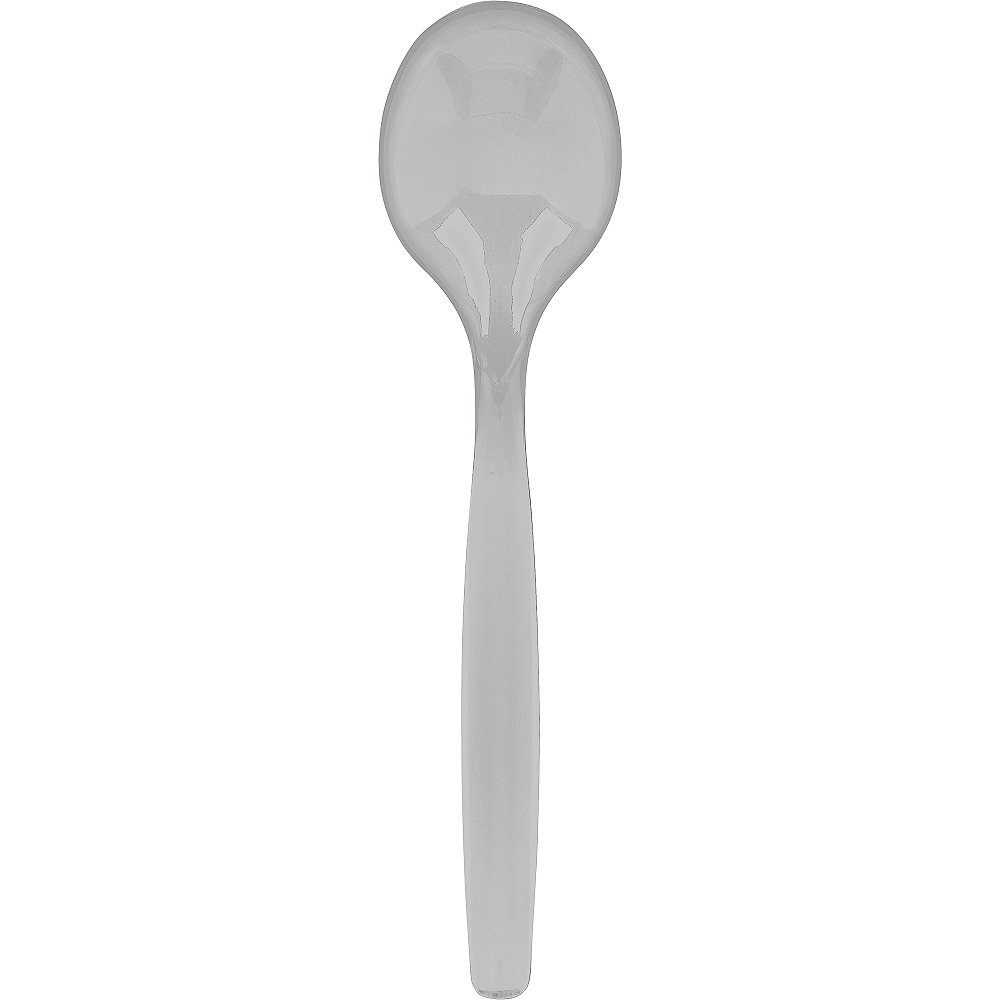 Silver Plastic Serving Spoon Image #1