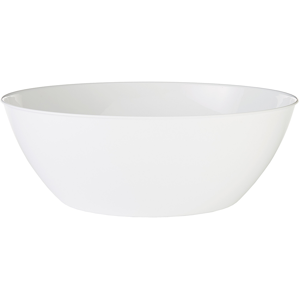 White Plastic Serving Bowl Image #1