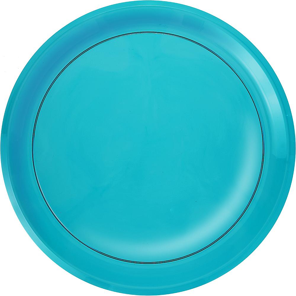 Caribbean Blue Plastic Round Platter Image #1