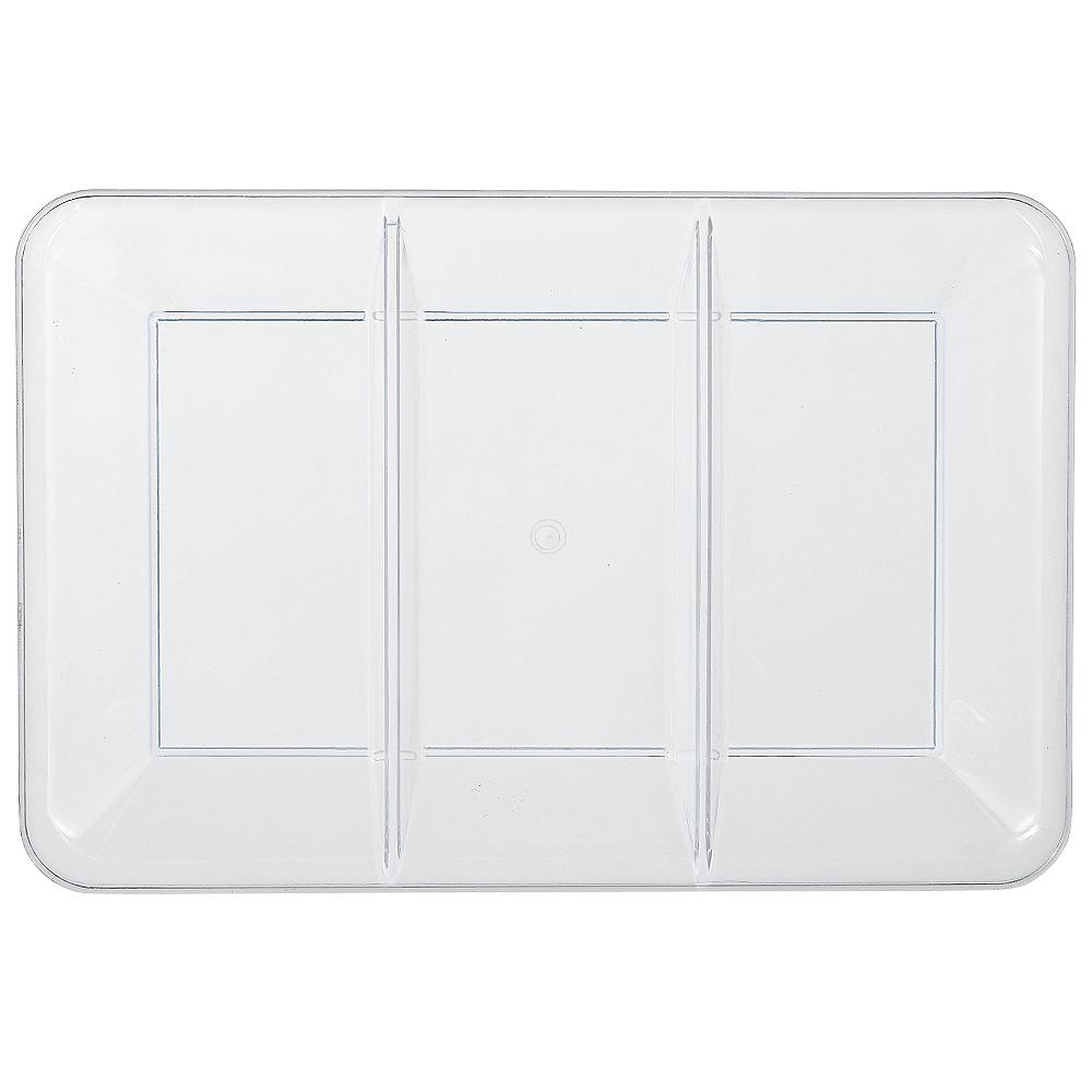 CLEAR Plastic Rectangular Sectional Platter Image #1