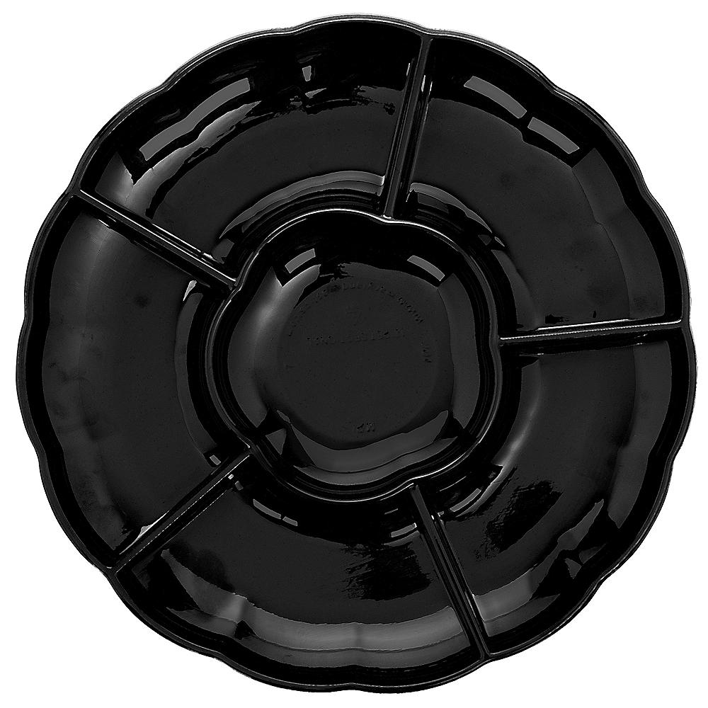 Black Plastic Scalloped Sectional Platter Image #1