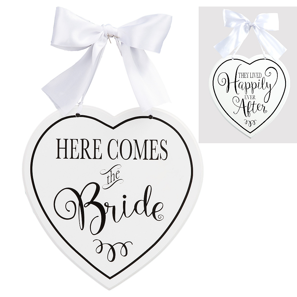 White Heart Here Comes the Bride Sign Image #1