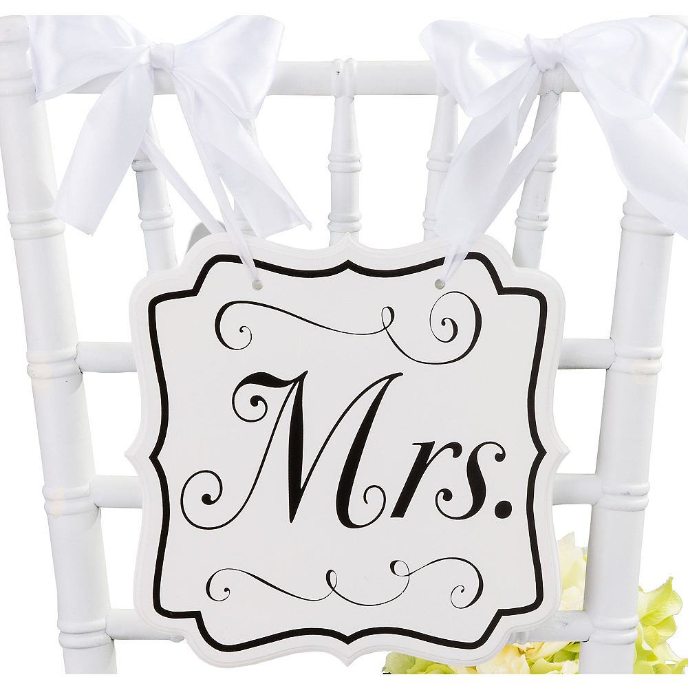White Mrs. Wedding Chair Sign Image #1