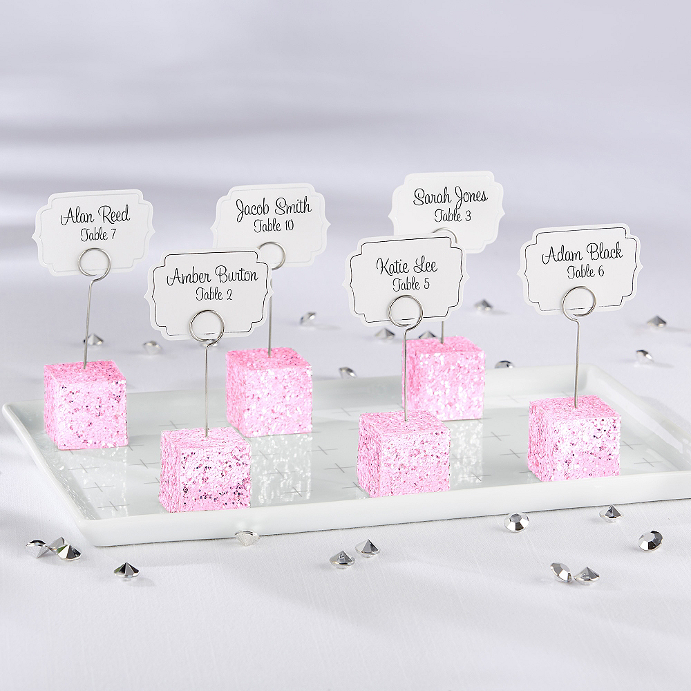 Pink Glitter Cube Place Card Holder Image #1